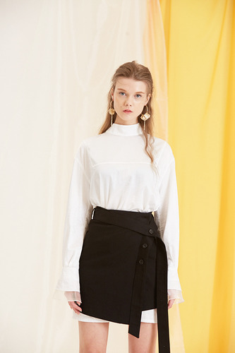 17SS belt wrap skirt(black)