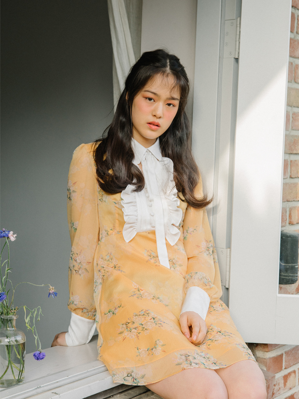 오픈기념 타임세일 18SS Flower choker dress (Yellow)