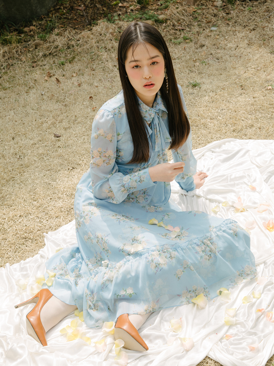 오픈기념 타임세일 18SS Maxi flower frill dress (Blue)