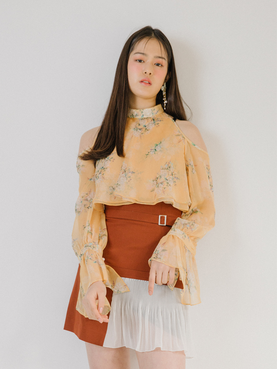오픈기념 타임세일 18SS High-waist belted skirt (Brown)