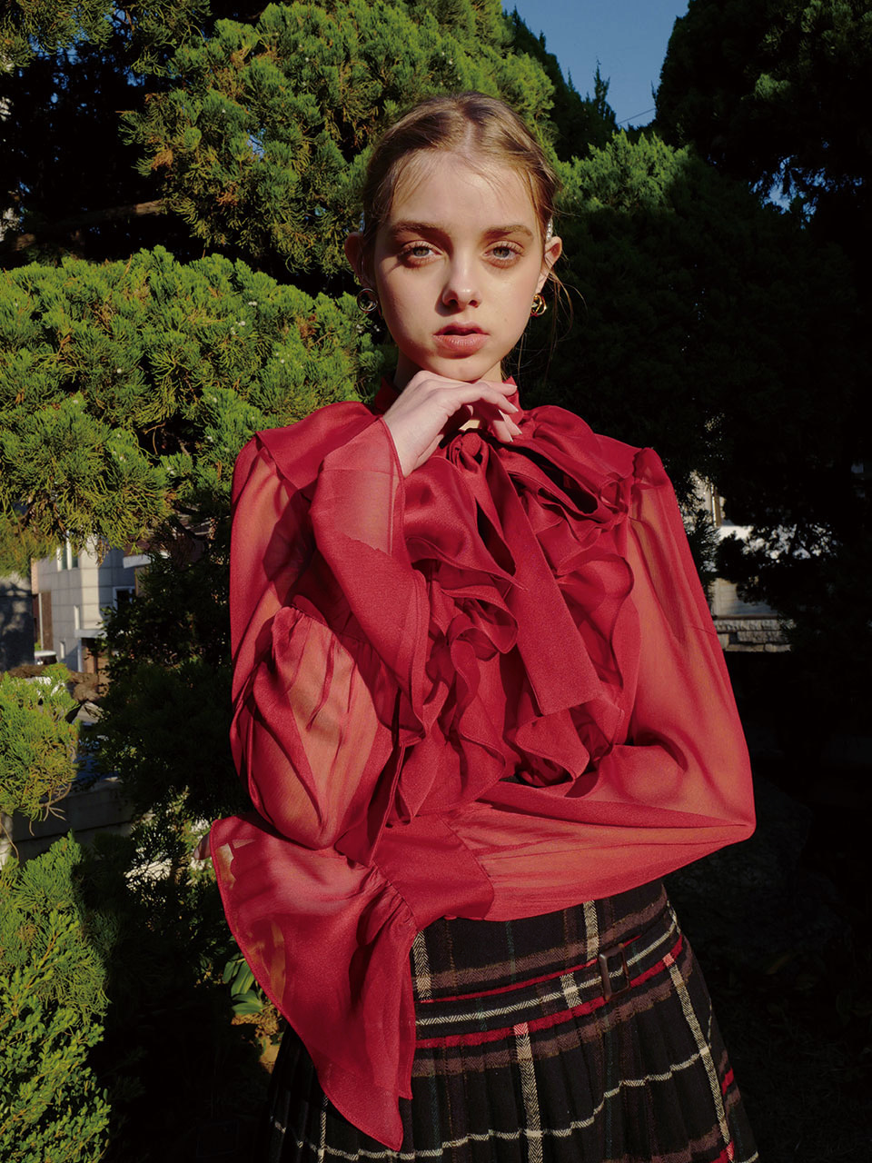 18AW Chiffon frill blouse (Red)