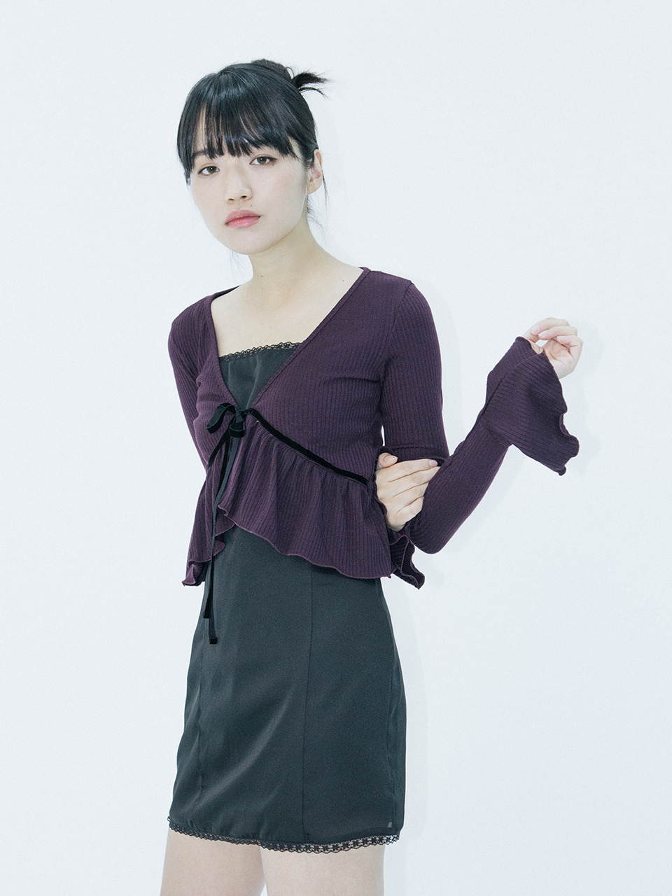 Velvet ribbon cardigan (purple)