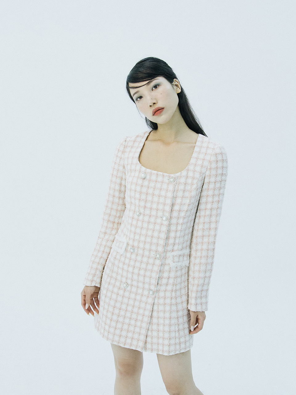 Tweed double button dress (pink check)
