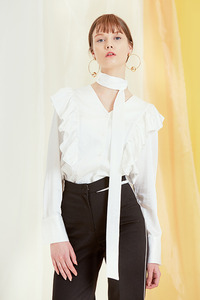 17SS Tie frill blouse (White) 헤이즈 착용