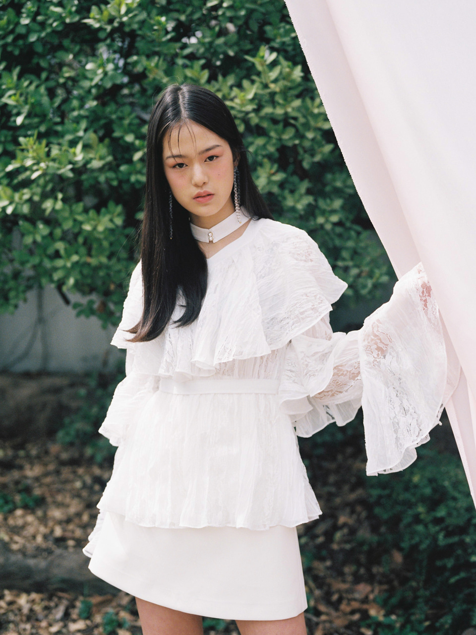 18SS Flare frill blouse (White)