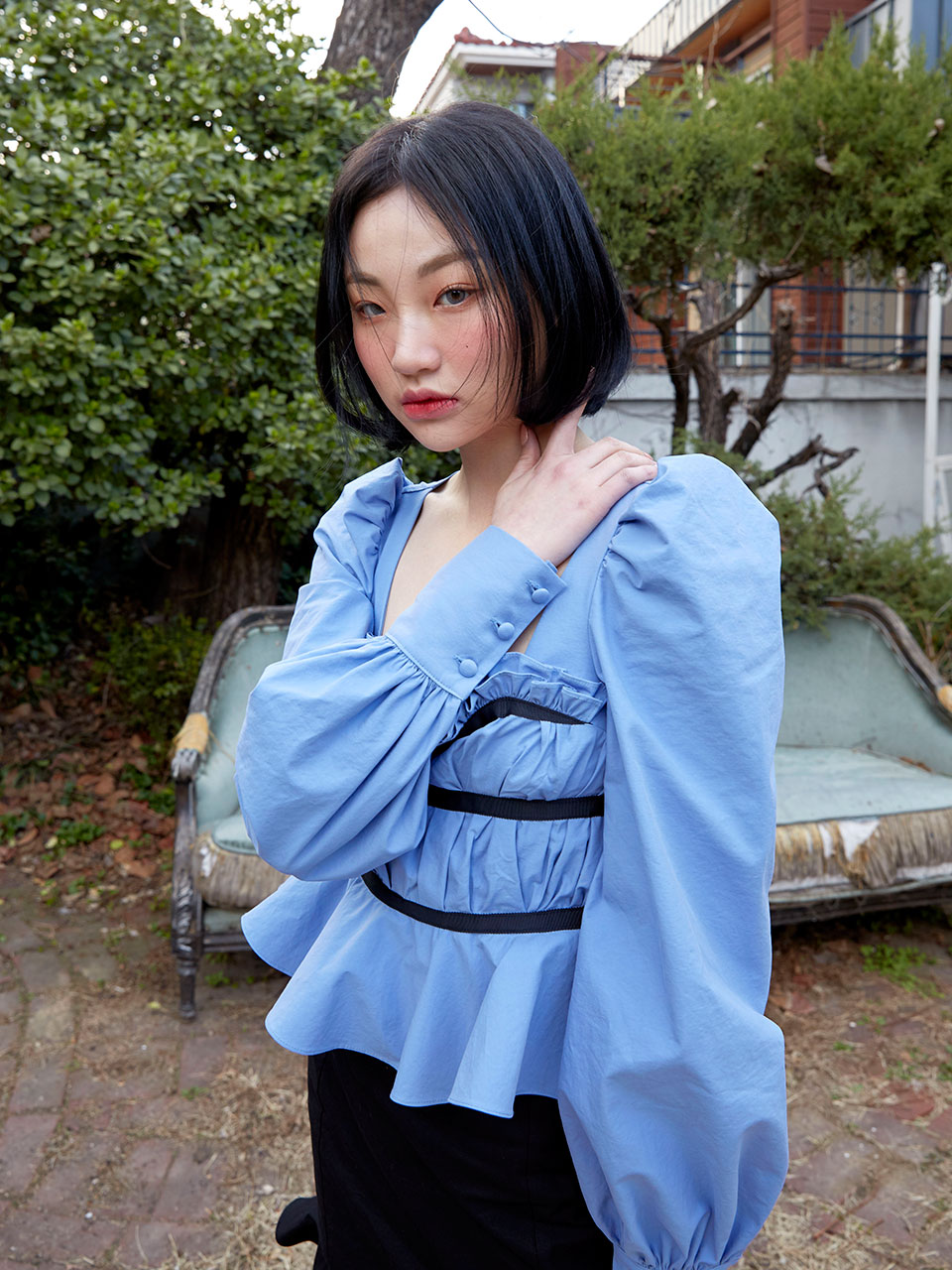 19SS Pleats taped blouse (Blue)