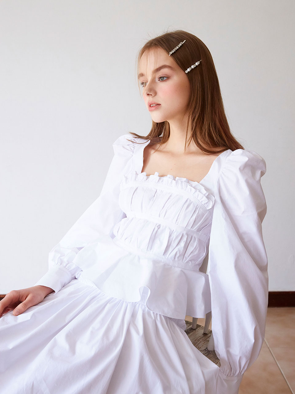 19SS pleats taped blouse(White)