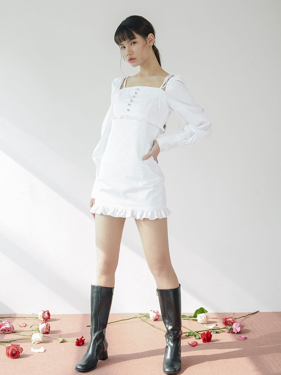 20SS String jewel dress (white)