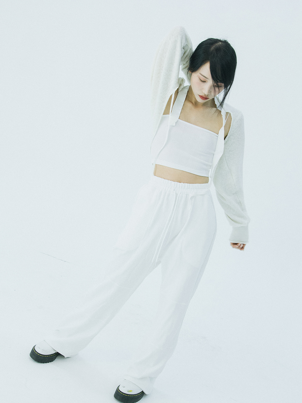 High-waist wide pants (white)