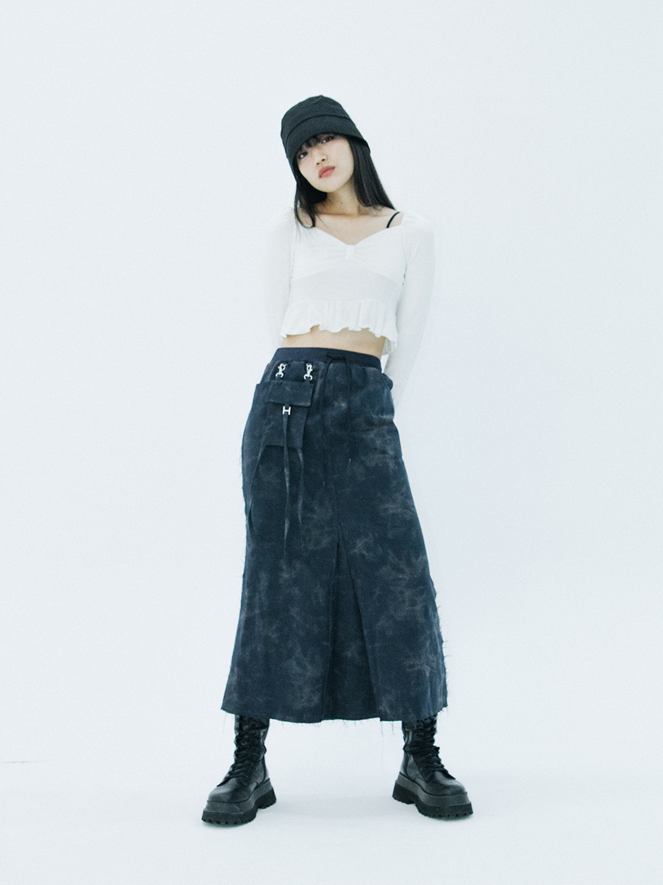Pocket long skirt (navy)