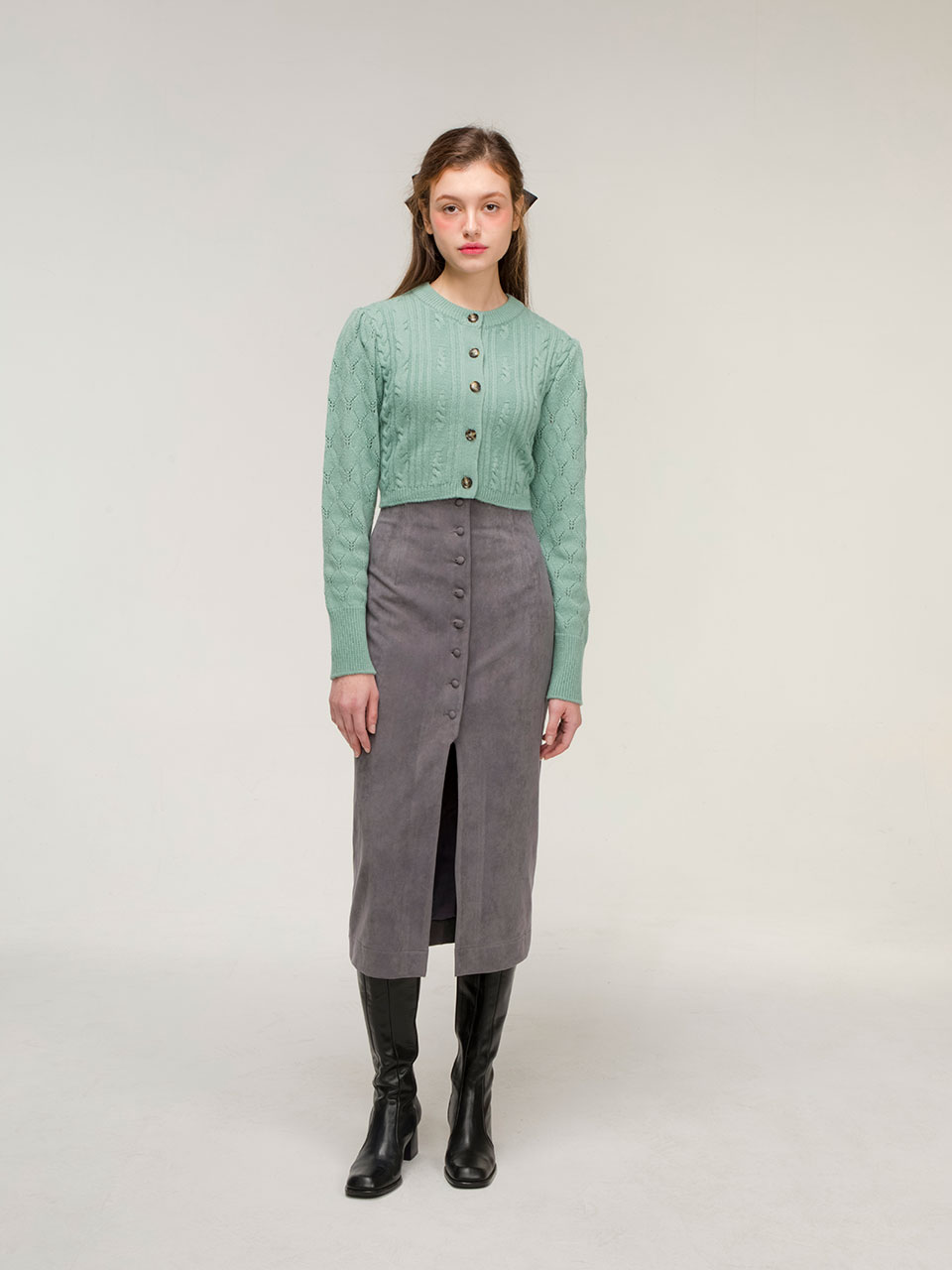 Suede button skirt (grey)