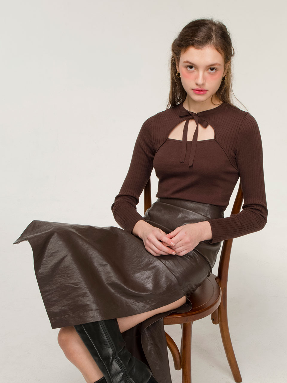 Ribbon tie knit (brown)