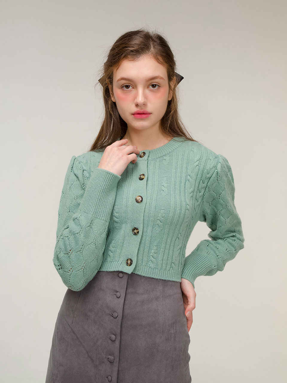 Puff wool cable cardigan (mint)