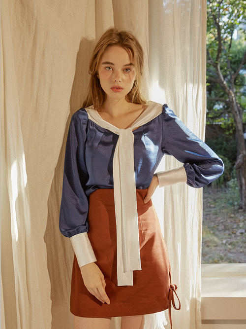 17FW Long scarf blouse (Blue)