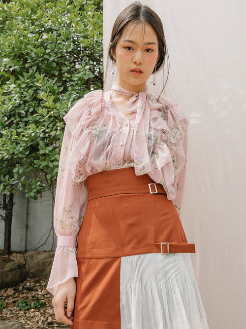 18SS Flower scarf blouse (Pink)