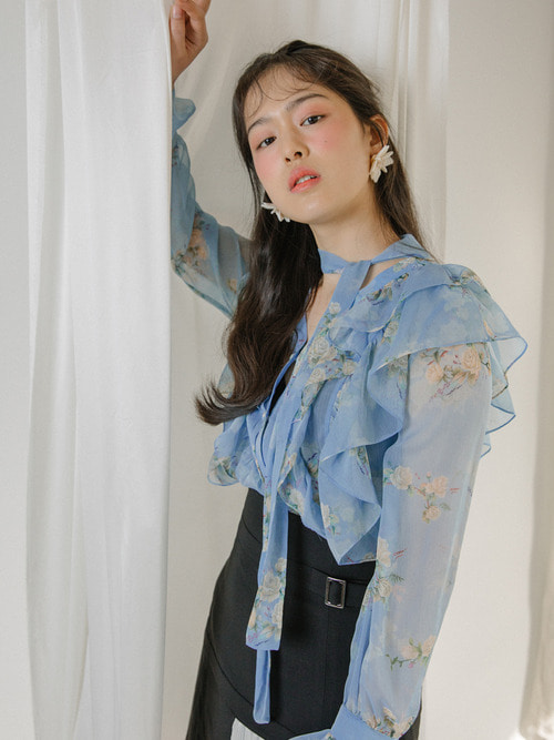 18SS Flower scarf blouse (Blue)