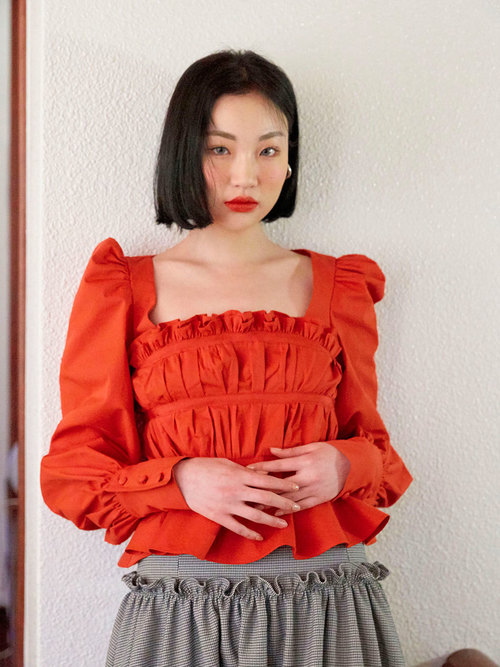 19SS Pleats taped blouse (Red)