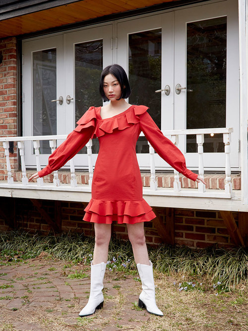 19SS Ruffled puff dress (Red)