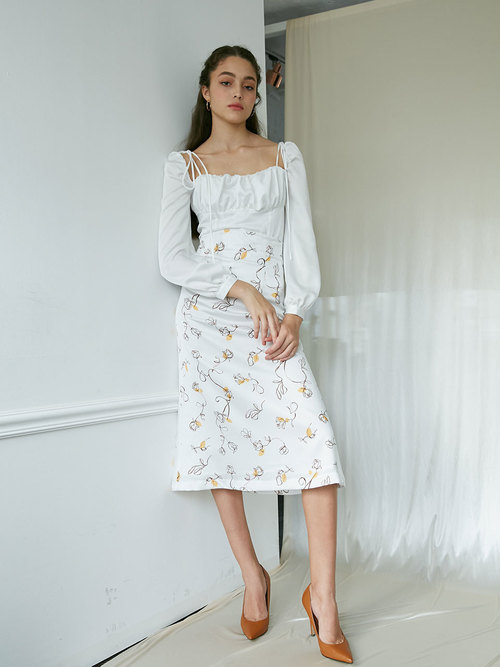 19Fall Rosepetal mermaid skirt (Yellow drawing)