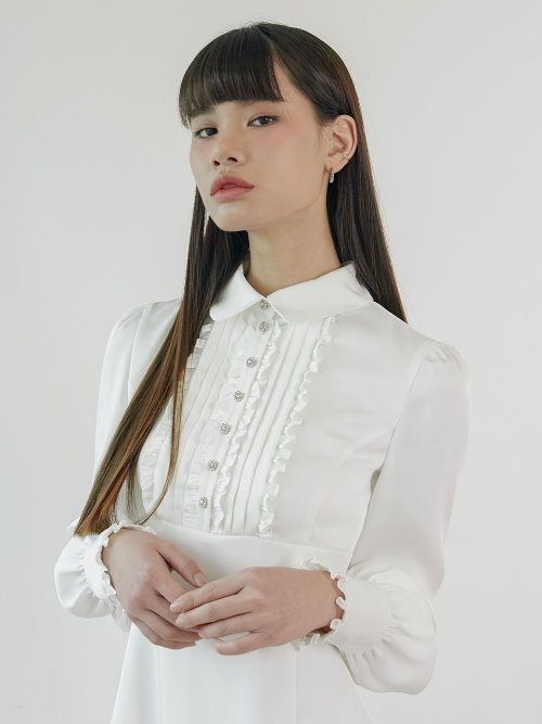 20SS Frill jewel dress (white)