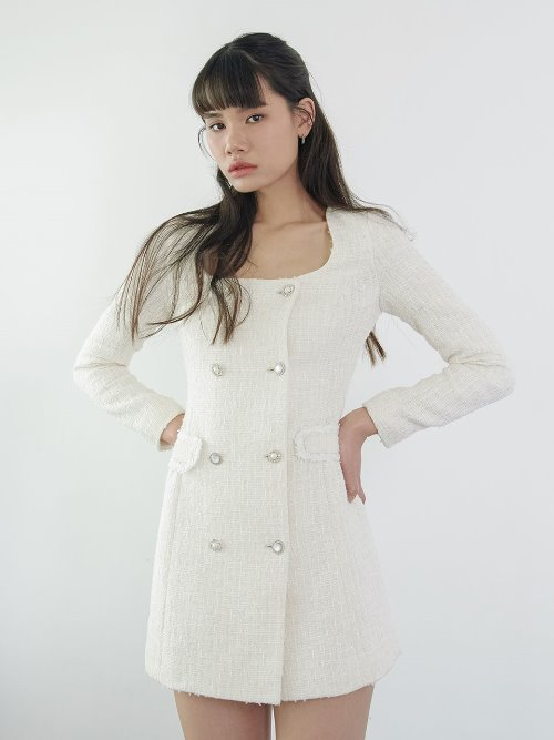 20SS Tweed double button dress (white, pink check)