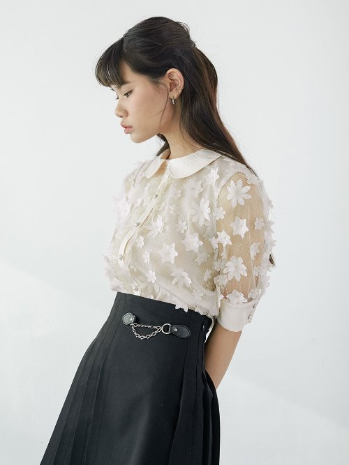 20SS Flower lace blouse (peach)