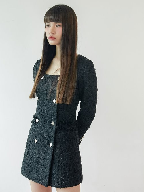 20SS Tweed double button dress (black, black check)