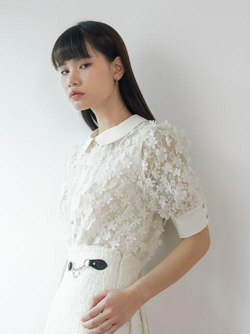 20SS Flower lace blouse (white)