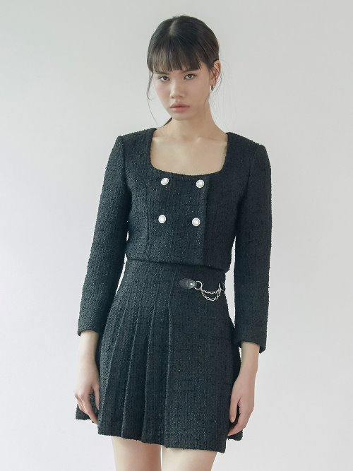 20SS Tweed crop jacket (black)