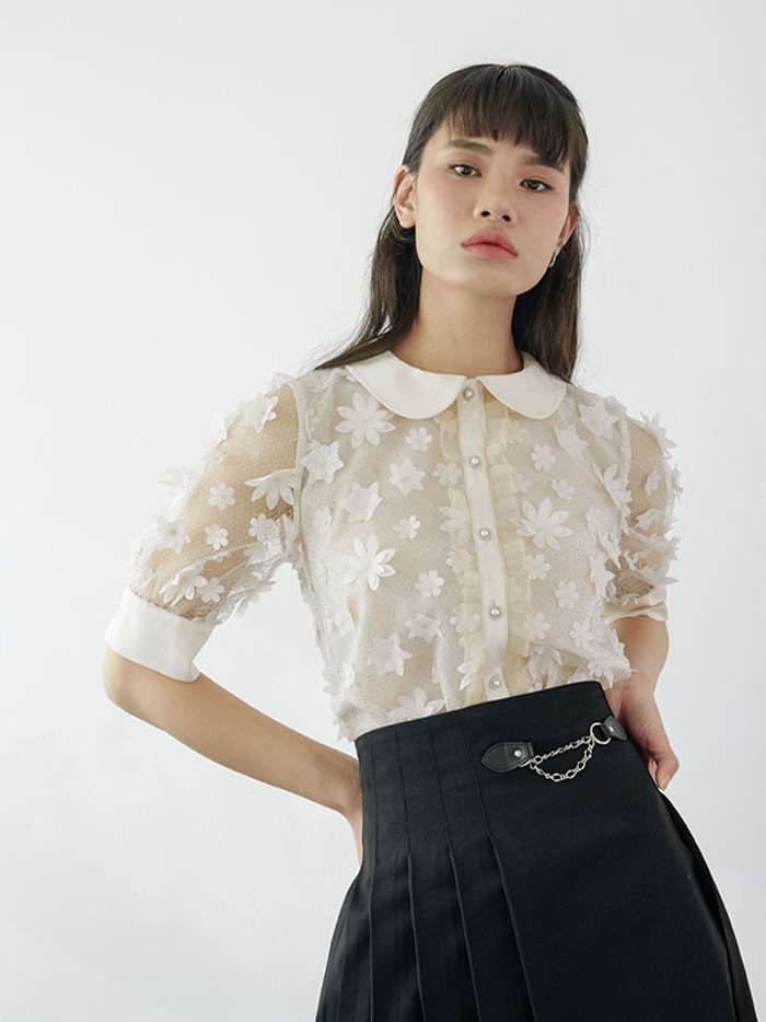 20SS Chain pleats skirt (black)
