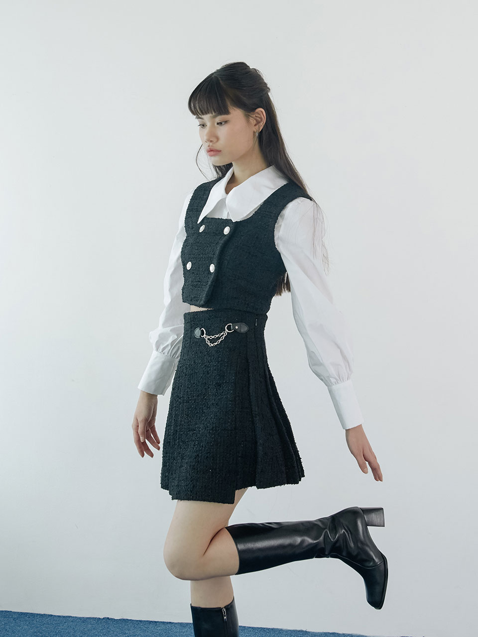 20SS Tweed chain skirt (black)