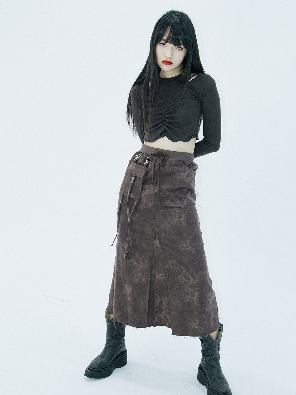 Pocket long skirt (brown)