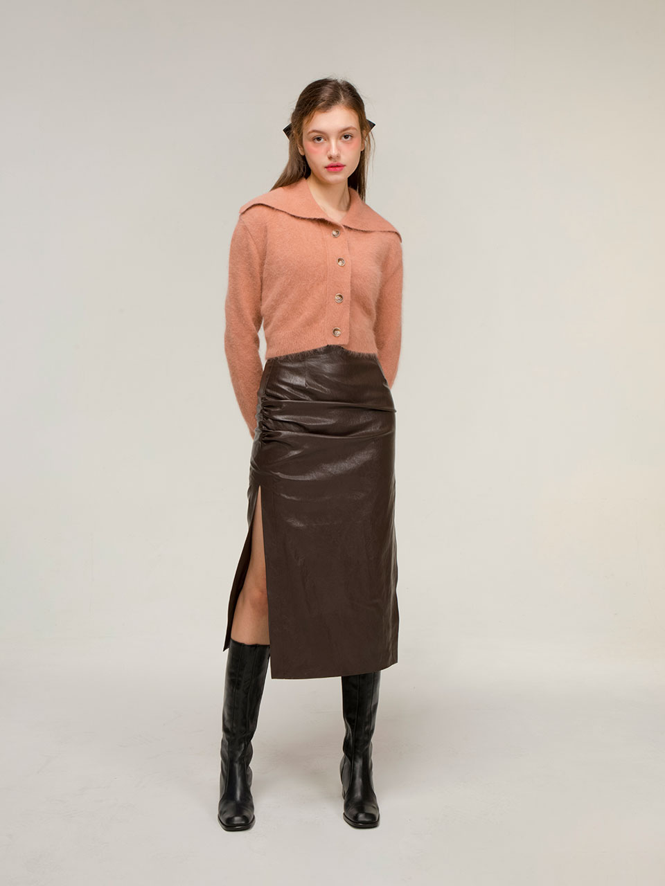 Drape leather skirt (brown)